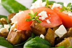 Σαλάτα μελιτζάνας με τις ντομάτες, το τυρί φέτας, το σπανάκι και τα πράσινα Στοκ φωτογραφία με δικαίωμα ελεύθερης χρήσης