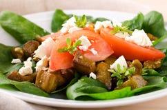 Σαλάτα μελιτζάνας με τις ντομάτες, το τυρί φέτας, το σπανάκι και τα πράσινα Στοκ Εικόνες