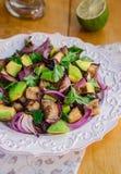 Σαλάτα μελιτζανών μελιτζάνας Σαλάτα αβοκάντο Ψημένη συνταγή λαχανικών στοκ φωτογραφίες