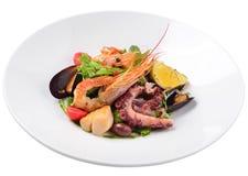 Σαλάτα με τα θαλασσινά και ντομάτες, ένα δίδυμο των σαλτσών, που απομονώνεται Στοκ Εικόνες