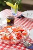Σαλάτα με τα κρεμμύδια ντοματών και τυρί που εξυπηρετείται στον πίνακα Στοκ Εικόνες
