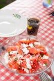 Σαλάτα με τα κρεμμύδια ντοματών και τυρί που εξυπηρετείται στον πίνακα Στοκ φωτογραφία με δικαίωμα ελεύθερης χρήσης