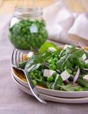 Σαλάτα με τα πράσινα μπιζέλια, τα φασόλια, το κόκκινα κρεμμύδι και το τυρί φέτας Στοκ Φωτογραφίες
