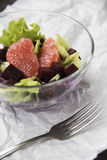 Σαλάτα με το γκρέιπφρουτ, το κόκκινο λάχανο, τα τεύτλα και το μαρούλι Ψωμί Στοκ εικόνες με δικαίωμα ελεύθερης χρήσης