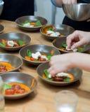 Σαλάτα με το μαγείρεμα μοτσαρελών Στοκ Φωτογραφία