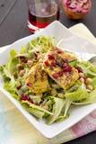 Σαλάτα με το ψημένα στη σχάρα κοτόπουλο, chickpeas και το ρόδι Στοκ φωτογραφία με δικαίωμα ελεύθερης χρήσης