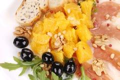 Σαλάτα με το arugula και το prosciutto Μακροεντολή Στοκ Εικόνα