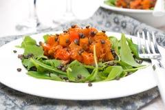Σαλάτα με το arugula, τις μαύρες φακές και φυτικό stew Στοκ φωτογραφίες με δικαίωμα ελεύθερης χρήσης