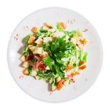 Σαλάτα με croutons και τα πράσινα Στοκ εικόνα με δικαίωμα ελεύθερης χρήσης