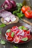 Σαλάτα ντοματών με το γλυκούς κόκκινους κρεμμύδι και το βασιλικό Στοκ φωτογραφίες με δικαίωμα ελεύθερης χρήσης