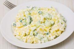 Σαλάτα πατατών με τα κρεμμύδια και το αγγούρι Στοκ Εικόνες