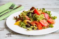 Σαλάτα της ντομάτας τριών τύπων με το μαρούλι και τη σάλτσα Στοκ φωτογραφία με δικαίωμα ελεύθερης χρήσης