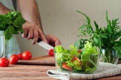 Σαλάτα των θερινών λαχανικών σε ένα βαθύ κύπελλο του γυαλιού Στοκ φωτογραφία με δικαίωμα ελεύθερης χρήσης