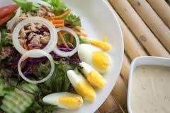 Σαλάτα τόνου με το βρασμένο αυγό στο άσπρο πιάτο Στοκ φωτογραφίες με δικαίωμα ελεύθερης χρήσης