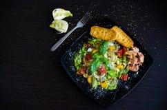 Σαλάτα φρέσκων λαχανικών με το ψωμί, τον τόνο και το μάραθο Στοκ Εικόνα