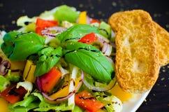 Σαλάτα φρέσκων λαχανικών με το ψωμί Στοκ Εικόνες