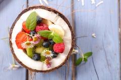 Σαλάτα φρούτων στους κοκοφοίνικες στοκ εικόνες