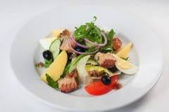 Σαλάτα ψαριών, arugula, πατάτες, κρεμμύδι, ελιές σε ένα άσπρο υπόβαθρο για τις επιλογές Στοκ Εικόνες
