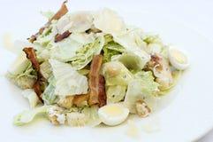 Σαλάτα Caesar στο άσπρο πιάτο Στοκ εικόνα με δικαίωμα ελεύθερης χρήσης