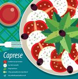 Σαλάτα Caprese στο πιάτο με το δίκρανο Στοκ Εικόνα