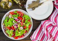 Σαλάτα chickpeas με τα λαχανικά και τη σάλτσα λεμονιών Στοκ Εικόνα
