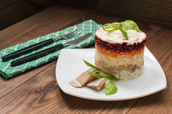 Σαλάτα Shuba Μαγειρευμένες τεύτλα, καρότα, πατάτες, κρεμμύδια, ρέγγες και μαγιονέζα Η κλασική ρωσική κουζίνα Εστιατόριο Στοκ εικόνα με δικαίωμα ελεύθερης χρήσης