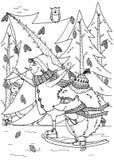 Σαλάχι χιονανθρώπων και σκαντζόχοιρων απεικόνισης Doodle νέο έτος διάνυσμα απεικόνιση αποθεμάτων