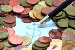 Σβήστε τα μετρητά νομισμάτων δολαρίων των χρημάτων της Ταϊλάνδης Στοκ Φωτογραφία