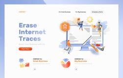 Σβήστε την επιγραφή ιστοσελίδας ιχνών Διαδικτύου ελεύθερη απεικόνιση δικαιώματος