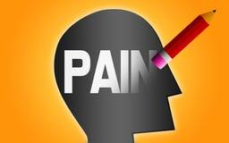 Σβήστε τη λέξη πόνου από το ανθρώπινο κεφάλι απεικόνιση αποθεμάτων