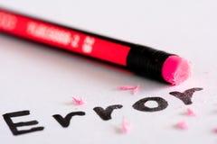 Σβήστε το λάθος λέξης με μια λαστιχένια έννοια στοκ εικόνες με δικαίωμα ελεύθερης χρήσης