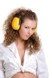 σγουρά ακουστικά κοριτ Στοκ Εικόνες