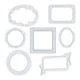 Σγουρές πλαίσια και διακοσμήσεις doodles Στοκ εικόνα με δικαίωμα ελεύθερης χρήσης