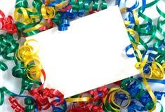 σγουρή κορδέλλα notecard Στοκ εικόνες με δικαίωμα ελεύθερης χρήσης
