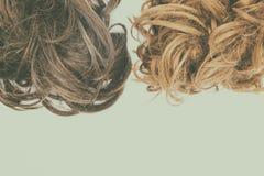Σγουροί καφετής και ξανθά μαλλιά που απομονώνεται με την εκλεκτής ποιότητας επίδραση φταμένο στοκ εικόνες
