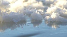 Σγουρός παγωμένος πάγος στις ακτές της Βόρεια Θάλασσας απόθεμα βίντεο