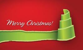 σγουρό εύθυμο διαμορφωμένο έγγραφο δέντρο Χριστουγέννων Στοκ εικόνα με δικαίωμα ελεύθερης χρήσης