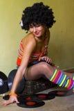 σγουρό χαριτωμένο κορίτσι disco Στοκ Εικόνα