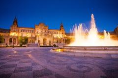 Σεβίλη, Ανδαλουσία, Ισπανία - Plaza της Ισπανίας στη Σεβίλη από το nightight Στοκ εικόνες με δικαίωμα ελεύθερης χρήσης