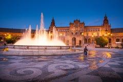 Σεβίλη, Ανδαλουσία, Ισπανία - Plaza της Ισπανίας στη Σεβίλη τή νύχτα Στοκ φωτογραφία με δικαίωμα ελεύθερης χρήσης