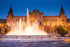 Σεβίλη, Ανδαλουσία, Ισπανία - Plaza της Ισπανίας στη Σεβίλη τή νύχτα Στοκ εικόνα με δικαίωμα ελεύθερης χρήσης