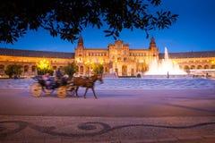 Σεβίλη, Ανδαλουσία, Ισπανία - Plaza της Ισπανίας στη Σεβίλη τή νύχτα Στοκ εικόνες με δικαίωμα ελεύθερης χρήσης