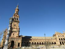 Σεβίλη Ισπανία Ισπανικό Square Plaza de Espana στοκ φωτογραφία με δικαίωμα ελεύθερης χρήσης