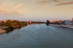 Σεβίλη Ισπανία Ορίζοντας πόλεων Dusk στοκ εικόνες