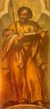 Σεβίλη - η νωπογραφία του ST Thomas ο απόστολος από το Lucas Valdes (1661 - 1725) στην εκκλησία Iglesia de Σάντα Μαρία Magdalena Στοκ φωτογραφία με δικαίωμα ελεύθερης χρήσης