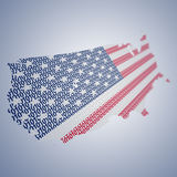 Σειρά ΑΜΕΡΙΚΑΝΙΚΩΝ σημαιών που διαμορφώνονται και που διαμορφώνονται δημιουργικά - δυαδικός κώδικας Στοκ Εικόνες