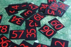 Σειρά αριθμών που χρωματίζεται στον πράσινο τοίχο Στοκ Φωτογραφία