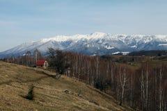 Σειρά βουνών και δασική του χωριού σκηνή Στοκ Εικόνες