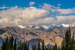 Σειρά βουνών σε Leh Ladakh Θαμπάδα στο πρώτο πλάνο Στοκ Φωτογραφίες