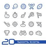 Σειρά γραμμών του //αθλητικών εικονιδίων Στοκ Εικόνες